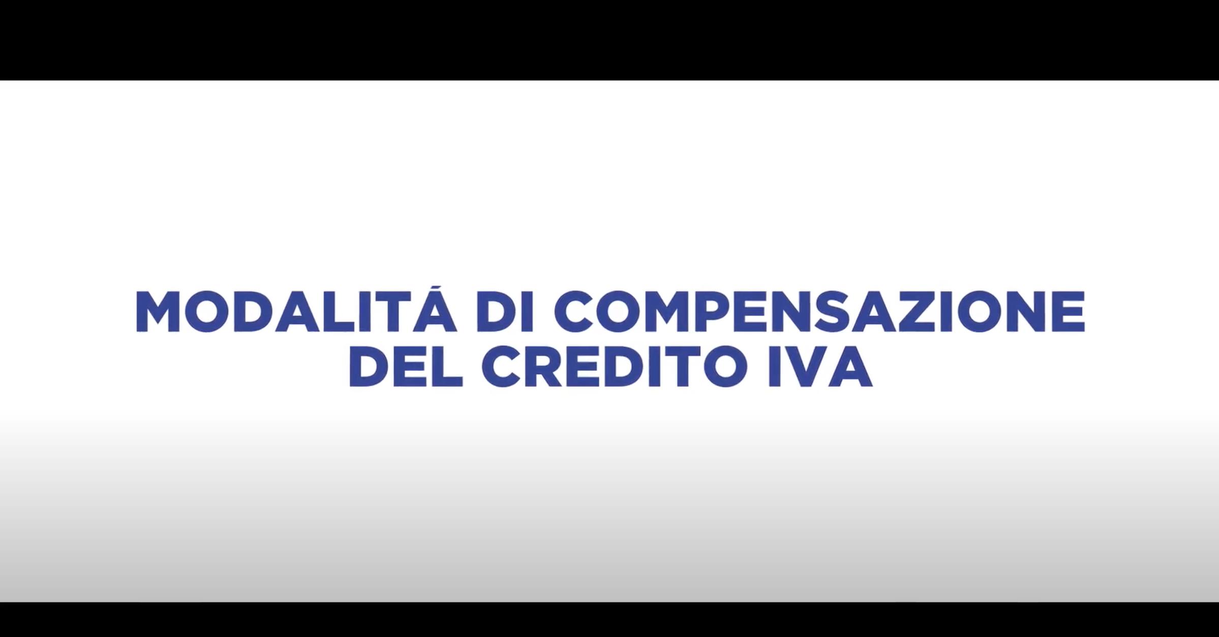 MODALITA' DI COMPENSAZIONE DEL CREDITO IVA
