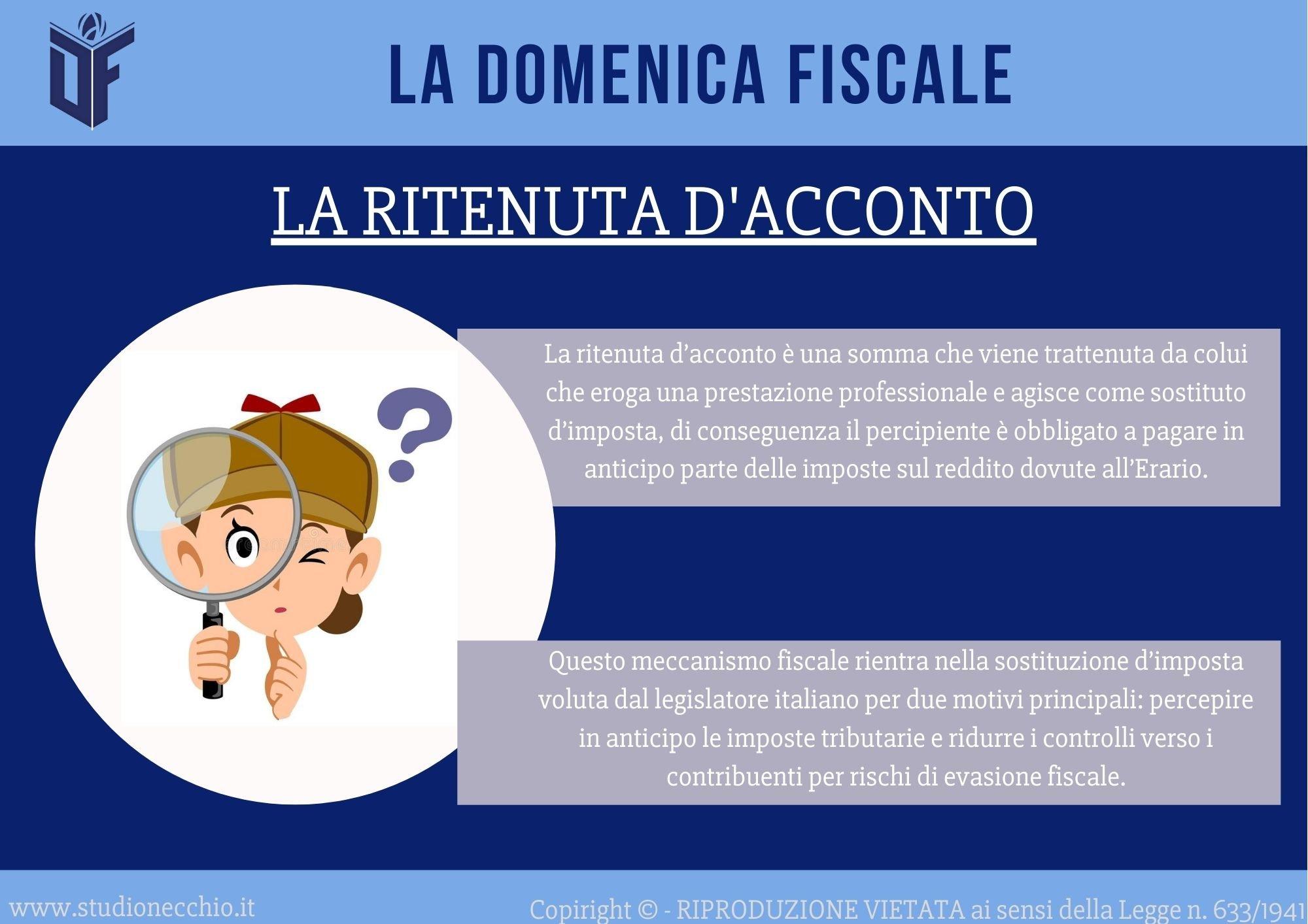 La Domenica Fiscale – La Ritenuta d'Acconto