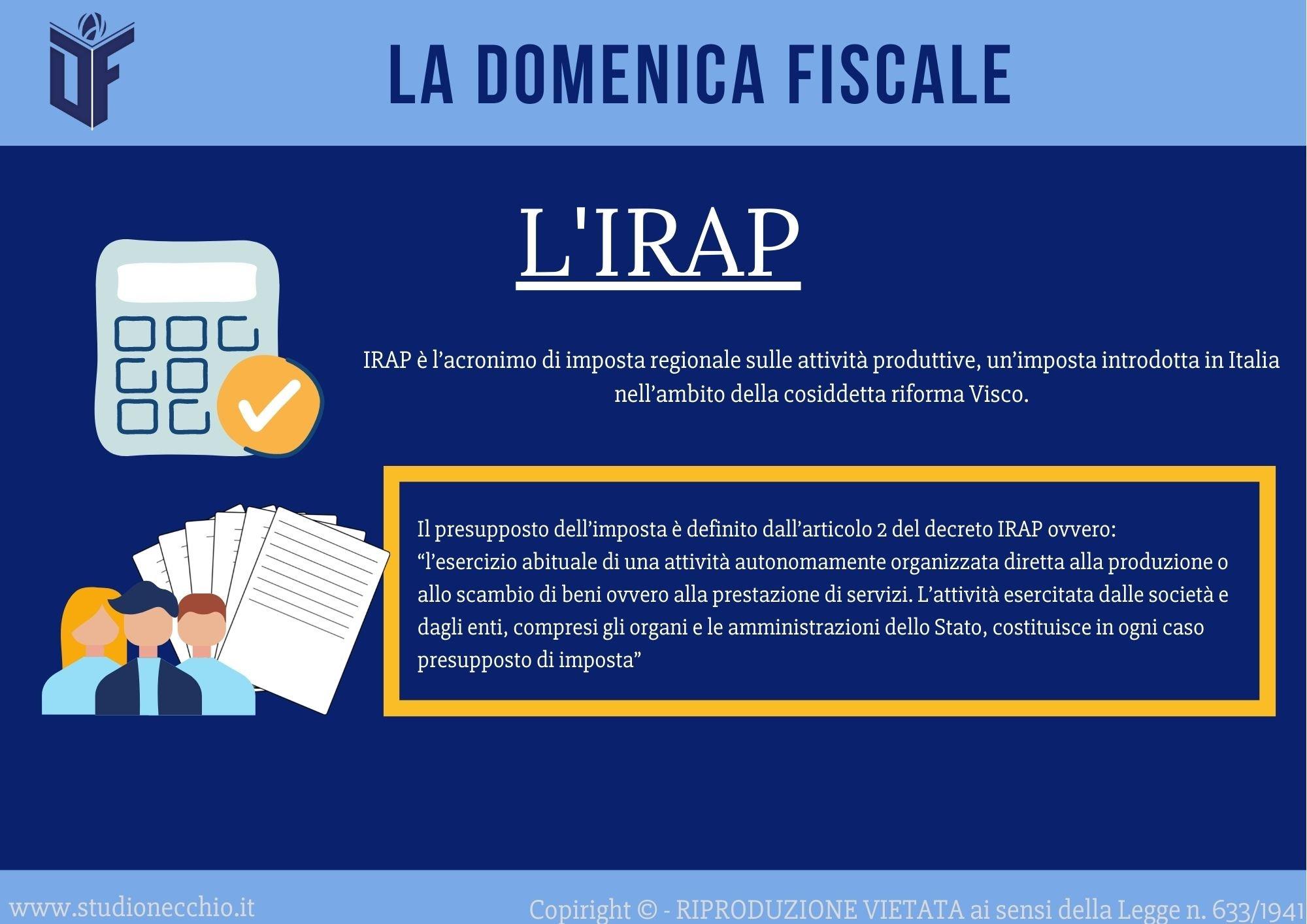 La Domenica Fiscale – L'IRAP