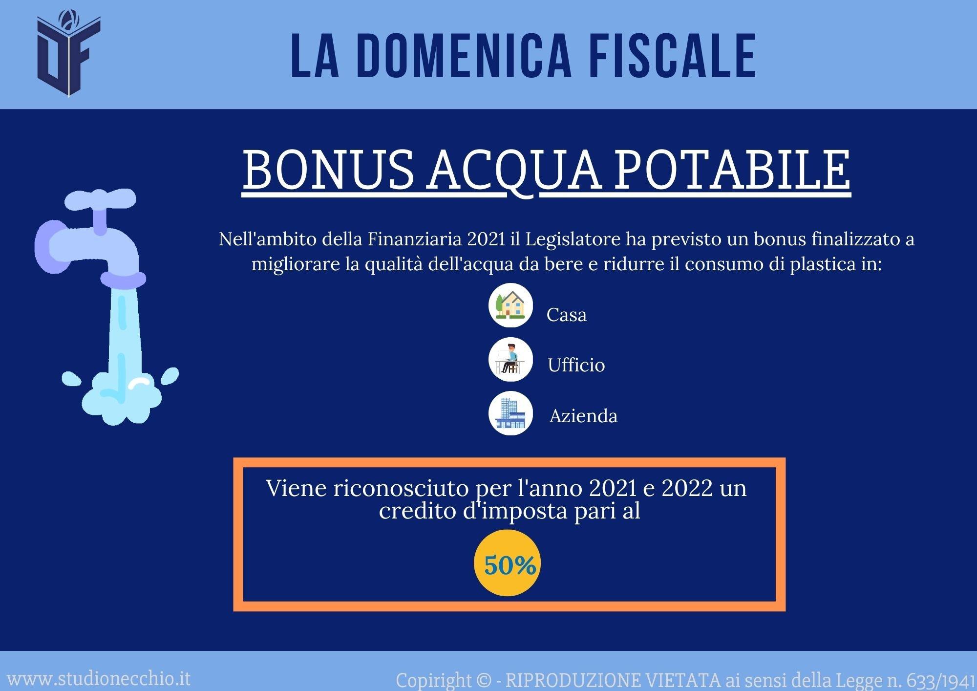 La Domenica Fiscale – Bonus Acqua Potabile