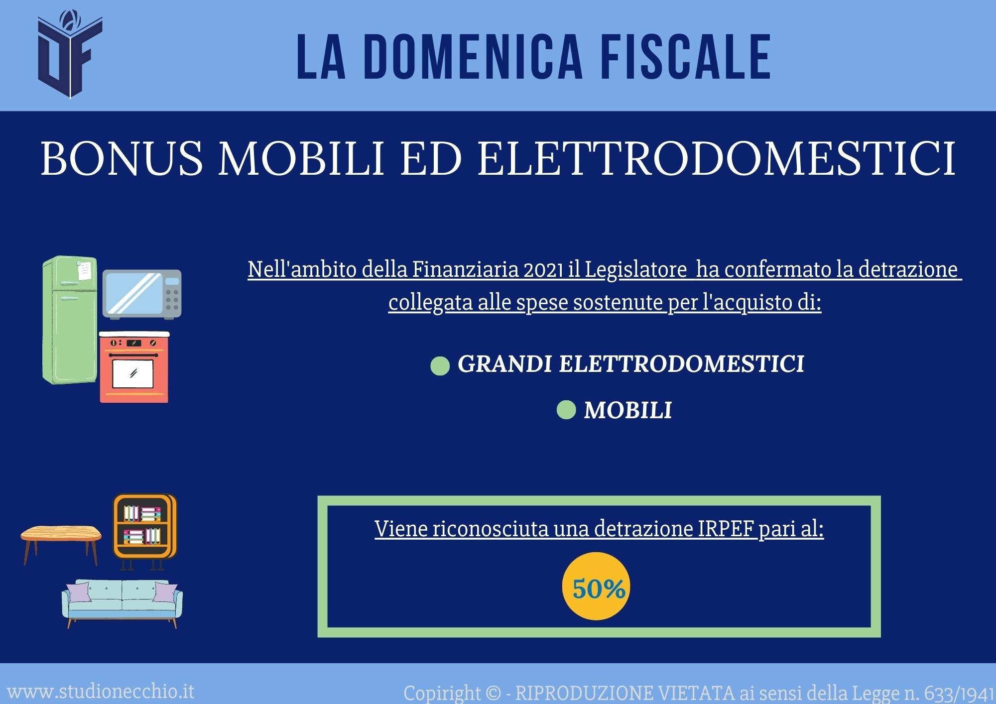 La Domenica Fiscale – BONUS MOBILI ED ELETTRODOMESTICI