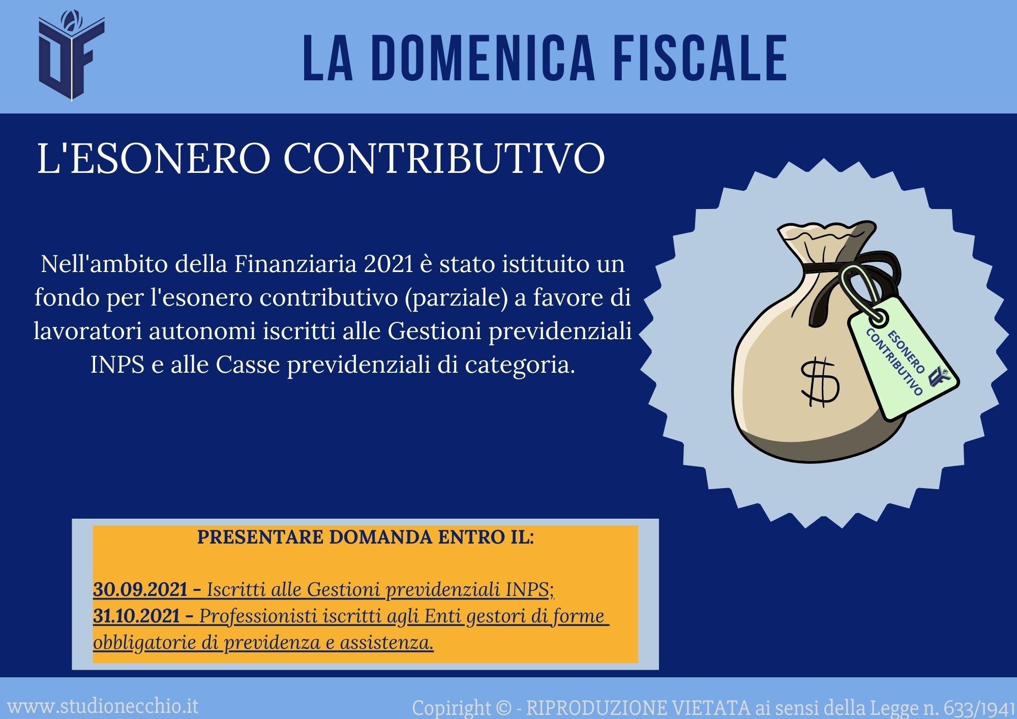 La Domenica Fiscale – ESONERO CONTRIBUTIVO