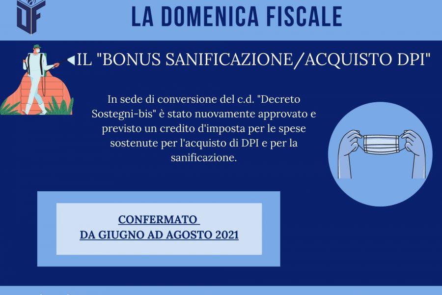 La Domenica Fiscale – IL BONUS SANIFICAZIONE/ACQUISTO DPI