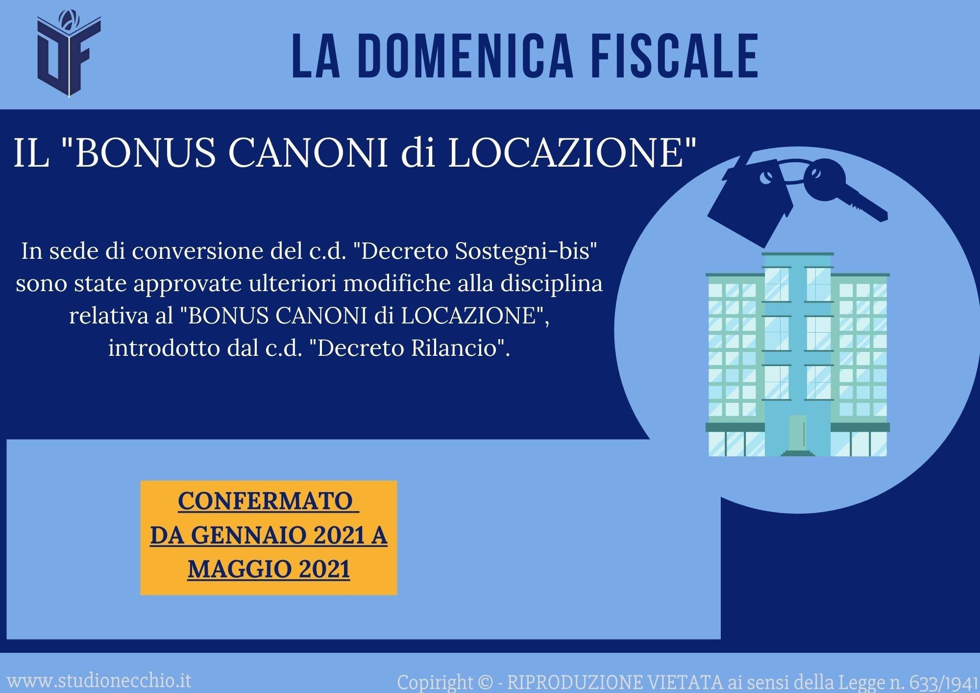 La Domenica Fiscale – IL BONUS CANONI DI LOCAZIONE